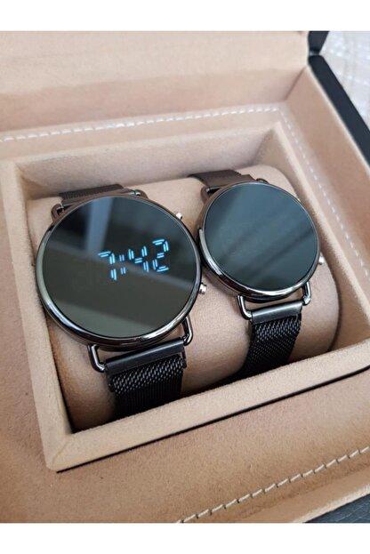 Gold Time Siyah Hasır Mıknatıslı Kordon Tuşlu Ekranlı Sevgili Saatleri