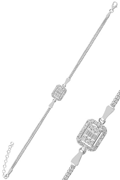 Söğütlü Silver Gümüş Rodyumlu Pırlanta Montürlü Çizgili Baget Taşlı Bileklik