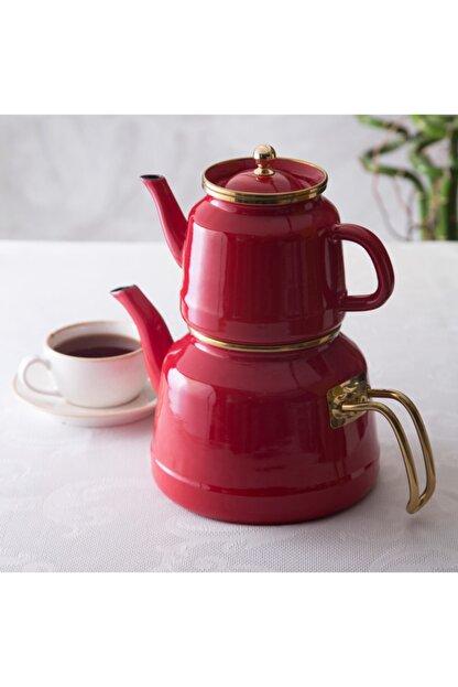 Emsan Troy Indüksiyon Tabanlı Emaye Çaydanlık Takımı Kırmızı