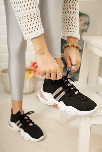 meyra'nın ayakkabıları Kadın Siyah Pudra Triko Sneaker