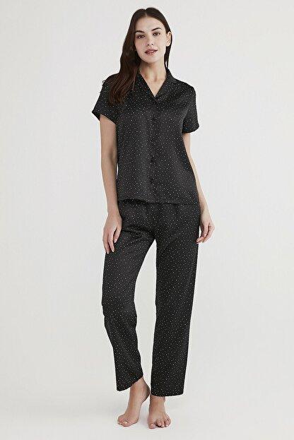 Penti Kadın Siyah Minimal Dark Saten Pijama Takımı