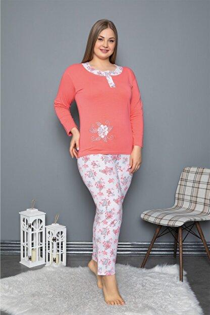 Sude Kadın Pembe Uzun Kollu Likralı Penye Pijama Takımı