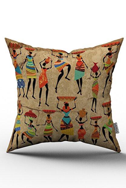 Cango Home Afrika Etnik Kadın Desenli Yastık Kırlent Kılıfı