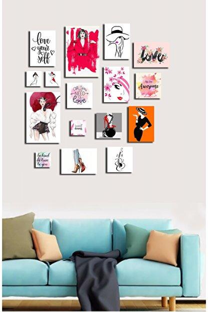 hediyeniburadabul 16'lı Çoklu Ahşap Duvar Tabloları - Posterler