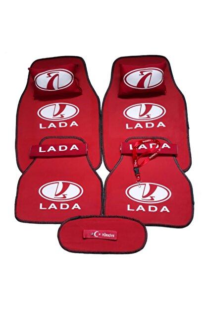 TUSBA MARKET Lada Logolu 5 Parça Oto Halı Paspas + Konfor Seti
