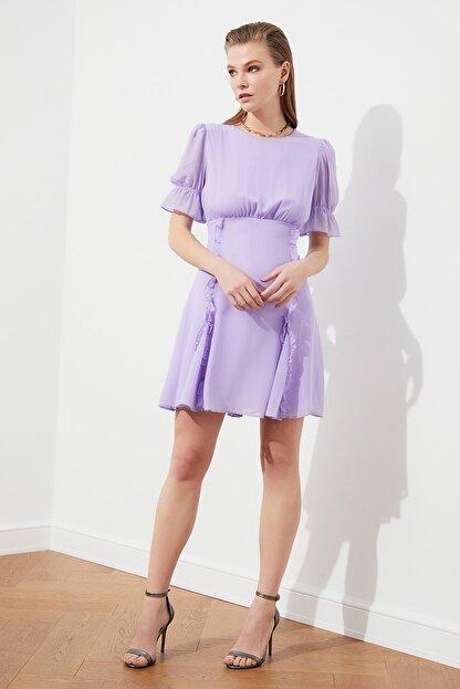 TRENDYOLMİLLA Lila Fırfır Detaylı Şifon Elbise TPRSS21EL0889