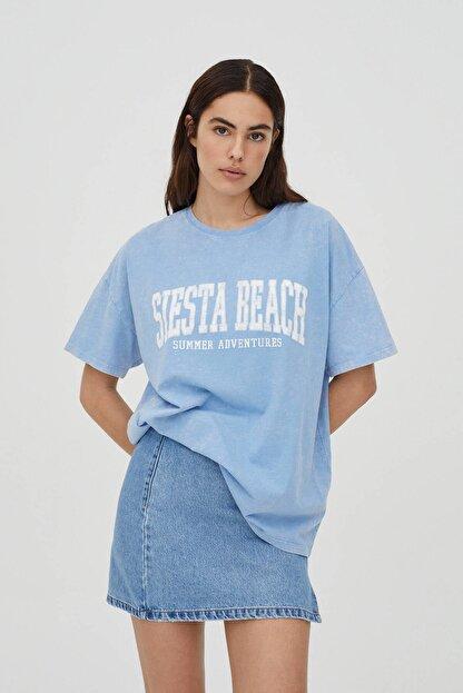 Pull & Bear Soluk Efektli Mavi Kolej T-shirt