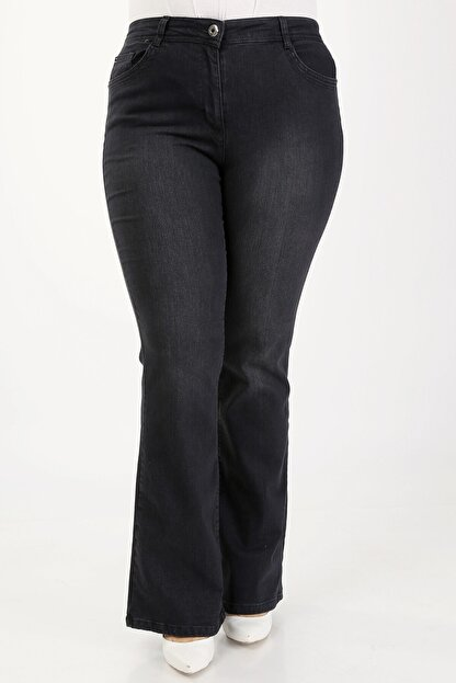 E Collection Ispanyol Paça Likralı Büyük Beden Jeans Pantolon