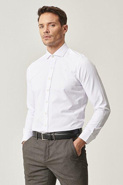 Altınyıldız Classics Erkek Beyaz Tailored Slim Fit Dar Kesim İtalyan Yaka Armürlü Gömlek