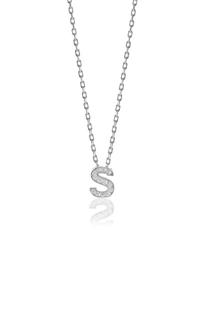 Söğütlü Silver Gümüş  Rodyumlu Üç Boyutlu Minimal S Gümüş Harf Kolye