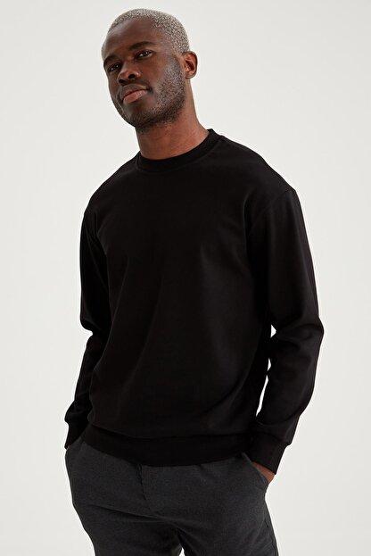Defacto Erkek Siyah Oversize Fit Bisiklet Yaka Basic Sweatshirt