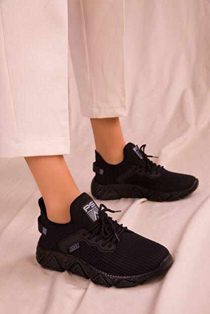 Soho Exclusive Siyah-Siyah Kadın Sneaker 15772