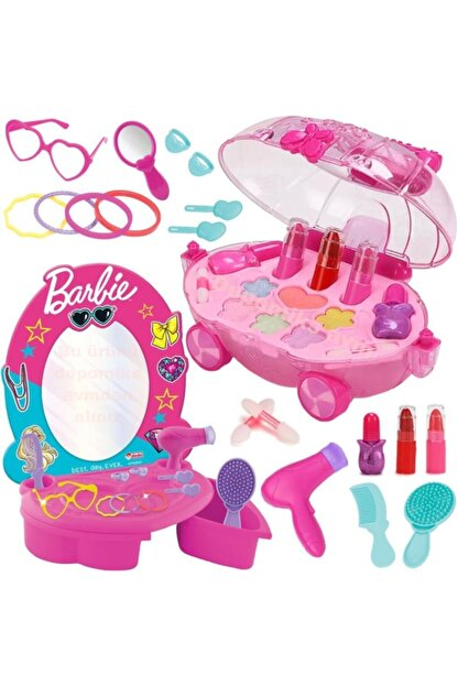DEDE Barbie Oyuncak Güzellik Salonu + Oyuncak Makyaj Arabası Sürülebilir Çocuk Makyaj Set Depomiks Avm