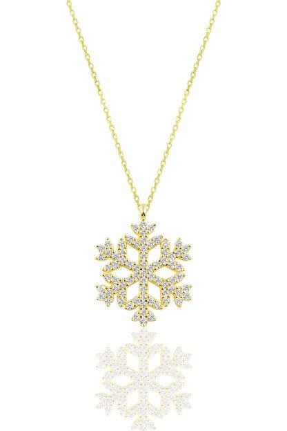 Söğütlü Silver Gümüş Altın Yaldızlı Gümüş Kar Tanesi Kolye