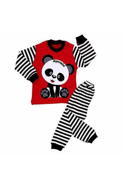 Babyboy Çizgili Uzun Kollu Panda Baskılı ( Penye ) 2li Erkek Çocuk Pijama Takımı - Kırmızı - 3 Yaş