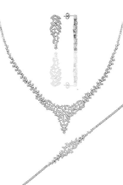 Söğütlü Silver Gümüş Rodyumlu Pırlanta Modeli Prenses Gümüş Takım.