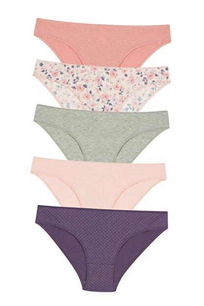 Penti Kadın Pembe Çok Renkli Brushed Floral Slip Külot 5'li
