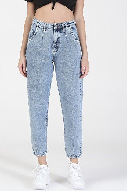 its basic Kadın Mavi Kot Rengi Yüksek Bel Balon Jeans