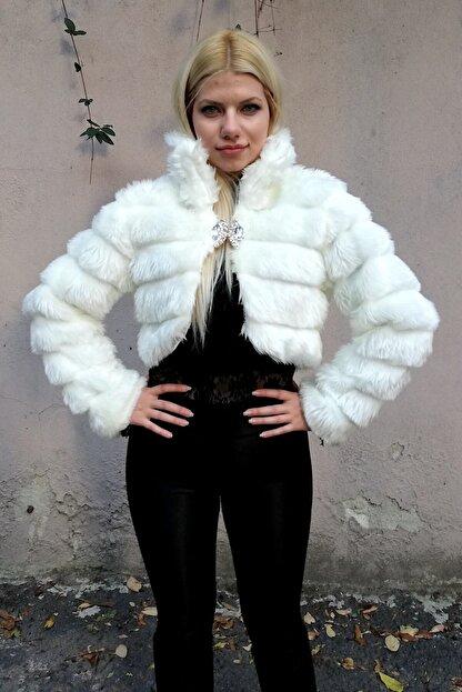 Keyifli Moda Kadın Beyaz Kürk Uzun Kollu Bolero
