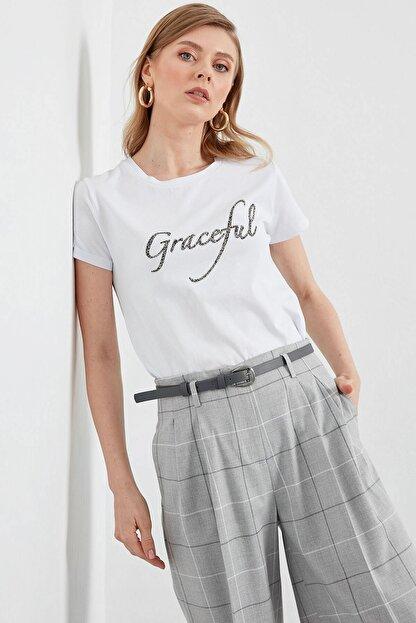 Journey Kadın Beyaz Ön Baskı Detaylı Penye Bluz