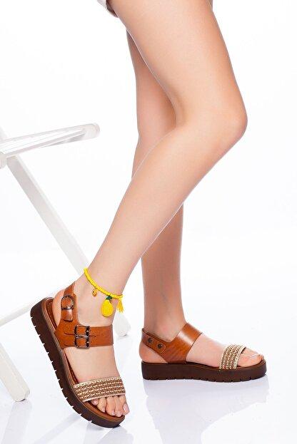 derithy Kadın Taba Hakiki Deri Sandalet