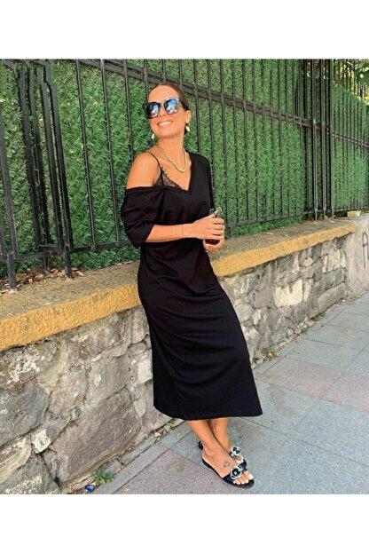 JANES Kadın Askılı Dantel Detay Viskon Kumaş Elbise 120cm