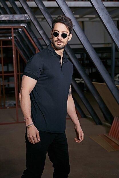 Sateen Men Erkek Siyah Polo Yaka Nubuk T-Shirt