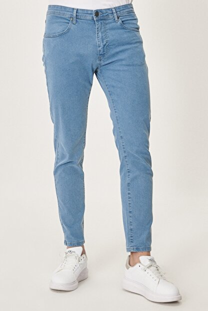 Altınyıldız Classics Erkek Buz Mavisi Slim Fit Dar Kesim Denim Esnek Jean Kot Pantolon