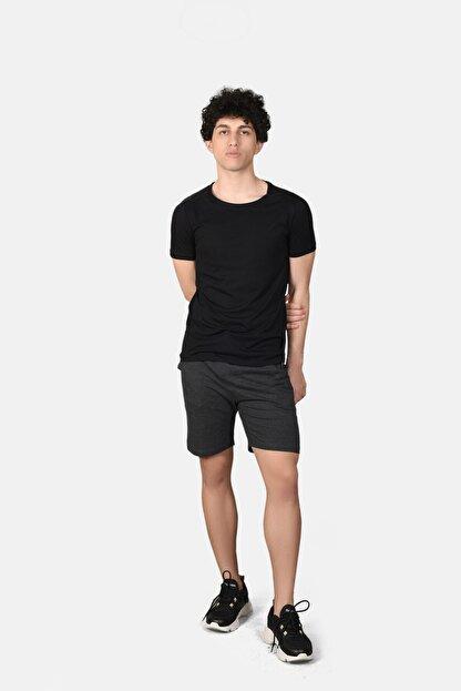 Malabadi Erkek Antrasit Alt Siyah Üst Şortlu Pijama Yazlık Takım M565