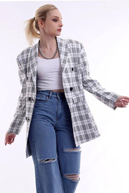 R&M Collection Özel Tasarım, Düğmeli, Cep Kapaklı, Sezon Trendi, Kare Blazer Ceket
