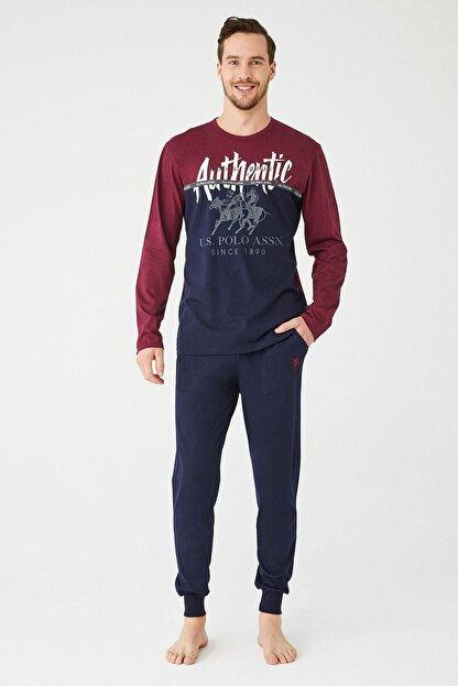 US Polo Assn Erkek Sari Yuvarlak Yaka Pijama Takım
