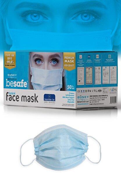 Besafe Be Safe Full Ultrasonik Cerrahi Maske 3 Katlı Meltblown Kumaş 50 Adet - Burun Telli - Mavi