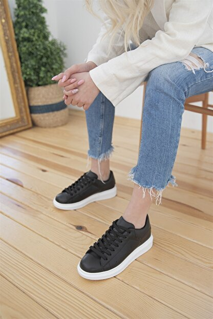 Straswans Kadın Siyah Pixie Deri Spor Ayakkabı