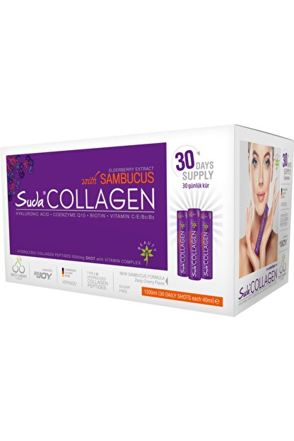 Suda Collagen Sambucus Vişne Aromalı 1200 ml 30 Shots x 40 ml