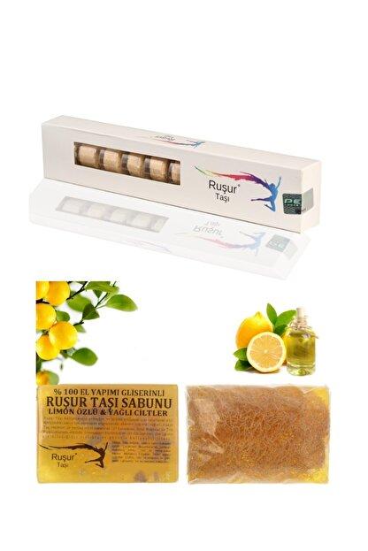 Ruşur Sefidab 1 Kutu Ruşur Taşı Ve Ruşur Taşı Sabunu Limon Özlü Kabak Lifli %100 El Yapımı