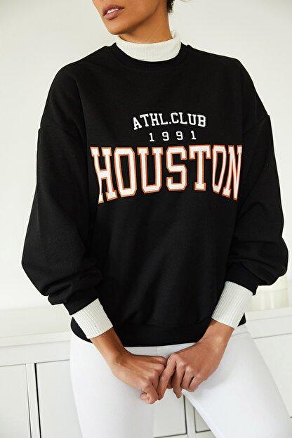 Xena Kadın Siyah Baskılı Polarlı Sweatshirt 1KZK8-11232-02
