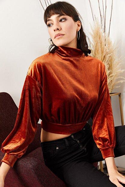 Olalook Kadın Kiremit Balon Kol Bel Üstü Kadife Bluz BLZ-19000709