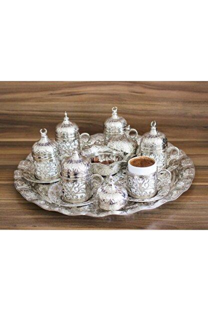 YamanlarPlastik Kahve Fincanı Seti 27 Parça. 6 Kişilik Otantik Desenli Tepsili Gümüş Kahve Seti.