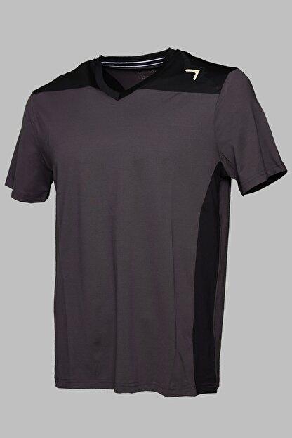 BESSA Garnili Interlok Nefes Alabilir Kumaş Fosfor Baskılı Antrasit Spor T-shirt