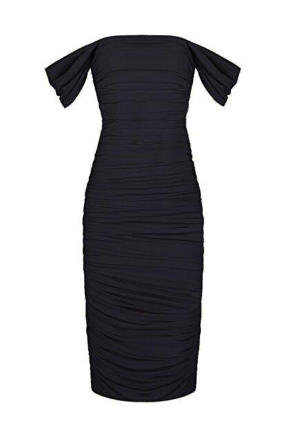 Whenever Company Siyah Düşük Kol Degajeli Drapeli Midi Elbise