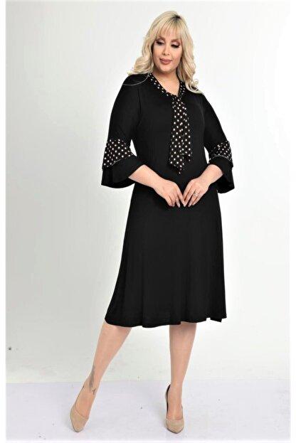 HERAXL Kadın Siyah Kravatlı Kahve Puantiye Detaylı Midi Elbise
