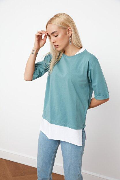 TRENDYOLMİLLA Mint Süprem Parça Detaylı Boyfriend Örme T-Shirt TWOSS20TS0858