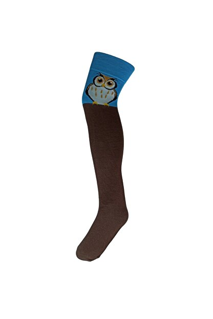 Adel Baykuş Desenli Diz Üstü Çorap