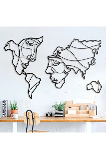 wood design world Ahşap Dekoratif Face World Map Duvar Dekoru Tasarım Tablo