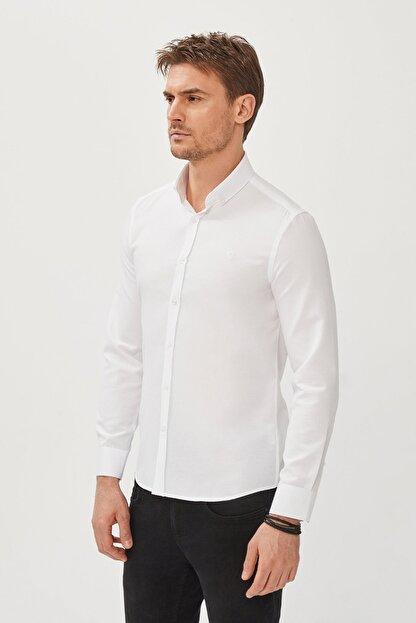 Avva Erkek Beyaz Oxford Düğmeli Yaka Slim Fit Gömlek E002000