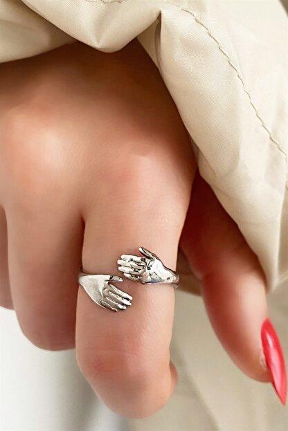 Takıştır Kadın Gümüş El Figürlü Ayarlanabilir Yüzük