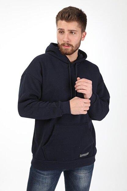 Millionaire Erkek Lacivert Kapüşonlu Oversize Sweatshirt