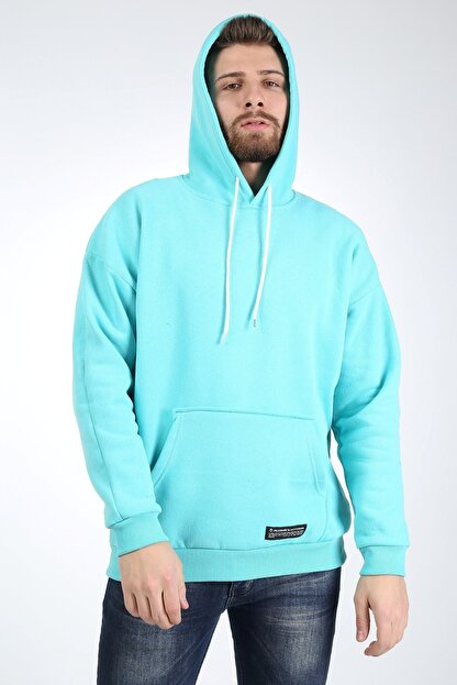 Millionaire Erkek Mint Kapşonlu Oversize Sweatshirt