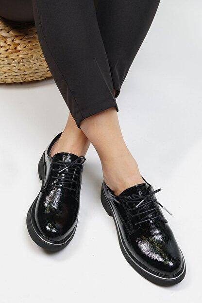 Marjin Kadın Siyah Rugan Oxford Ayakkabı Terva