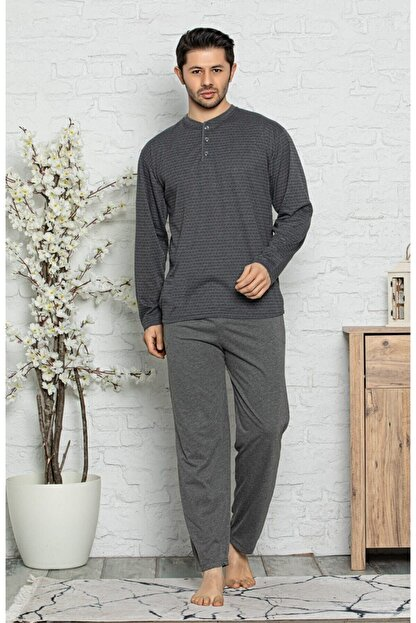 Işılay Erkek Gri Uzun Kollu Ince Pijama Takımı